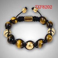 Wholesale Nialaya Yellow tiger stone beads new style bracelets Factory shamballa alloy cool black and white dill men s Weave adjust bracelets ZXF8201