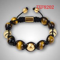 Beaded, Strands alloy adjust - Nialaya Yellow tiger stone beads new style bracelets Factory shamballa alloy cool black and white dill men s Weave adjust bracelets ZXF8201