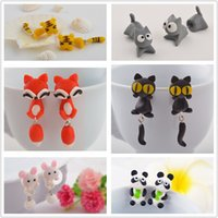 Wholesale Cute Cartoon Cat Rabbit Piranha Squirrel Fox Stud Earrings Multiple Animals Girls Creative Fimo Earrings