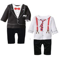 Wholesale Hot Sale Fashion Spring autumn baby kids clothing new style gentleman baby romper boys jumpsuits infant climb clothes