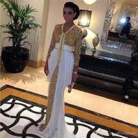 Cheap 2016 Hot Sequined Dubai Kaftan Formal Evening Dresses Abaya With White Train Moroccan Kaftan Party Dresses BA1093