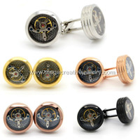 Wholesale Mens Watch Movement Tourbillon Cufflinks Movable Stainless Steel with Carbon Fiber
