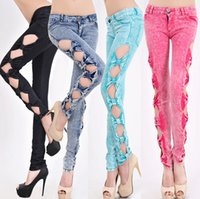 Wholesale Women New Fashion Candy Color Sexy Low Waist Denim Cotton Side Bow Hollow Out Pencil Pant Skinny Jeans Leggings