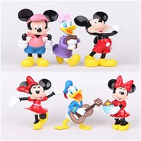 atlas music - 6pcs Mickey Mouse Minnie Clubhouse Mickey action figure kids girls toys child goofy Minnie Atlas PVC toy doll bouquet music cake decoration