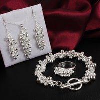 Mode New Argent 925 Parures Bijoux Grape Bracelet Collier Boucle d'oreille Bague Sets de mariée Parures