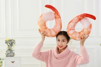 Wholesale Novelty Huge Shrimp Meat D U Shaped Neck Pillow Creative Throw Pillow funny Cool Cushion Plush Toys Home decor pillow for office nap