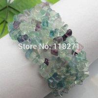 Precio de Chip stone bracelet-Envío al por mayor-libre salta granos Flourite piedra pulsera del estiramiento 7
