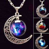 jewelry - Brand Fashion Jewelry Choker Necklace Glass Universe Galaxy Lovely Pendant Silver Chain Moon Sliver Pendant Necklace Style design