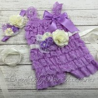 Wholesale Lavender Petti Lace Romper Matching Baby Headband Flower Sash Baby Girl Outfit Photography Prop set