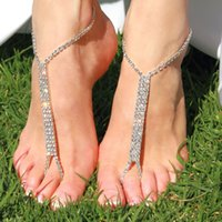 Alloy anklet with toe ring - 1pair Luxury Crystal Bridemaid Barefoot Sandal Foot Chains With Toe Ring Ladies Anklet Barefoot Wedding Beach Decoration jc015
