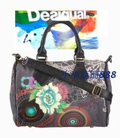Wholesale Spain desigual genuine fashion purple flower pattern canvas shoulder bag diagonal portable