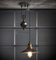 wrought iron - Kitchen rise fall Pulley Pendant Lights Edison Pendant Lamp retro Wrought Iron light fixture Industrial Lamp coffee shop Bar Led Abajur
