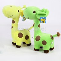 girafe petite achat en gros de-2015 Hot Toddlers Baby Soft Peluche Toy Cute Peluche Giraffe Colorful Doll Gift 18cm Small Livraison gratuite, BP55-S
