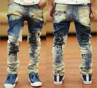 jeans lot - 2014 Fall Boy Jeans Slim Individuality Children Korean Jeans Good Quality Spray Paint Kids Pants WD237