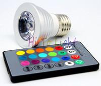 Wholesale 3W Spotlight RGB E27 Spot Light IR Remote Controller one set AC85 V Aluminum Shell for Festival Decorating lighing Hot
