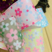 Wholesale 5Pcs X100cm Mixed Color printed Polyester Grosgrain Ribbon Fits Headwear Making