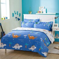 Cheap fast shipping blue The dinosaur printed 4pc bedding set Pillowcase Duvet Quilt cover flat bed sheet sets 128*68 100% Cotton 40s