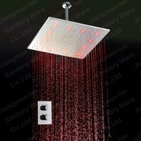 Wholesale New Fashion Bathroom Rain Led Shower Head Square Shower sets with brass shower mixer and shower arms