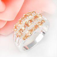 half full - Half Dozen Valentine Gift Full Fire Champagne Morganite Crystal Gemstone Sterling Silver Plated Russia Weddiing Ring