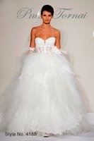 Wholesale 2015 Romantic Pnina Tornai white tulles Ruffles ball gown wedding dresses beads shining sweetheart sexy backless Beautifu bridal gowns fx379