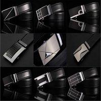 Wholesale Fashion Genuine leather belts for men Business male Style Automatic Buckle double faced cowhide belt Cintos cinturon