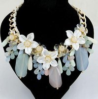 Wholesale 2014 high quality cheap Fashion k gold flower created gemstone statement Necklace mini mixed order
