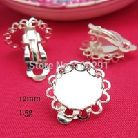 Wholesale MN Sunny Sliver tone round lace tray base mm ear clip