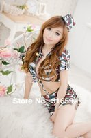 camouflage lingerie - lingerie Sexy Sunny Girl School Costumes Colorful Camouflage Short Shirt Skirt Suit Dropship US1607A