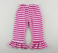Wholesale hot sale child long pants bottoms children s kids girl s ruffled boot cut striped pants