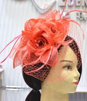 Wholesale HOT Sinamay Fascinator hat in SPECIAL Shape with Feather for wedding church races party