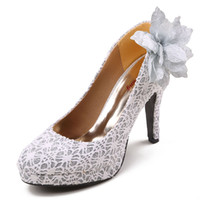 Cheap 4 inch High-heeled Bride Wedding Shoes Luxury Lady Shoes Lace Nightclub Prom Dresses Shoes DY238 Silver