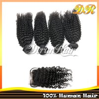 hair dye color - Virgin Hair Extension High Quality Hair Top Closure pc Kinky Curly Remy Hairs Peruvian Human Hair With Closure Hair Weave Can Be Dyed