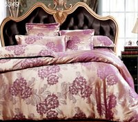b sides covers - Purple golden tribute satin silk jacquard silk cotton A B sides quilt cover cotton bed sheet bed set