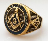 mens gold ring - Hot Sale high quality unique custom design Silver Golden Masonic ring discount stainless L Stainless steel Freemasonry Mens Ring