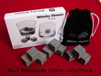 Wholesale set set Whisky Stones with delicate box velvet bag whiskey rock stone beer stone