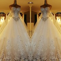 bling wedding dress - Luxury Crystal Cathedral Train Ball Gown Wedding Dresses with Strapless Sweetheart Bling Sequins Lace Applique Bridal Gowns Zuhair Mura