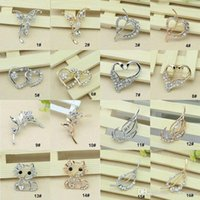 Wholesale Cat Butterfly Crystal - 32 Style Pins Brooches for sale Crystal Rhinestone Flower Bouquet Butterfly Cat Brooch Pins jewelry wholesale discount -0003DR