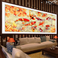 3d pictures - Nine fish picture D diy diamond painting wall stickers diamond embroidery needlework home decor cross stitch