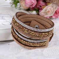 crystal jewelry box - 2015 New Fashion Layer Wrap Bracelets Slake Leather Bracelets for women With Crystals Couple Jewelry