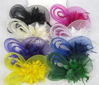 ribbon bow and flowers - New Arrive models Feather and flower Fascinator Hat with black headband wedding ladies day