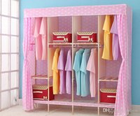 Wholesale Folding Wooden Wardrobe Reinforcement Closet Storage Racks Clothes Holders Long Lasting Steady Ikea Style Wardrobe Simple Design Furniture