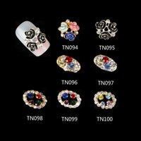 Wholesale 10 Glitter Rhinestones For Nails Tools Colorful Flowers Hollow Oval Gold Silver Alloy D Nail Art Decorations TN094