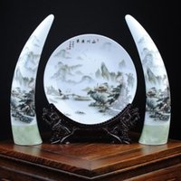 antique hand painted vases - 3 ones HAND PAINTED base Landscape fisherman PLATE new moon vase XY