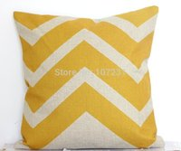 Wholesale 45x45cm ikat Cushion Cover Vintage Yellow Zigzag Throw Linen Pillow Case Home Decorective Cover Zip