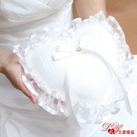 Wholesale 2015 ivory Crystal Organza Satin Lace Bearer Wedding Ring Pillow Flower Rose Pillows Bridal Beaded Wedding Favors Box