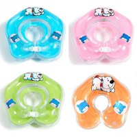 Wholesale Hot Sale Adjustable Colors Inflatable Circle New Born Infant Swimming Neck Baby Swim Ring Float Ring Safety Double Protection