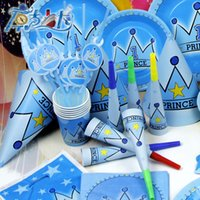 Wholesale 2015 Luxury Kids Birthday Party Decoration Set Princess Crown and Prince Crown Theme Party Supplies Pack cupcake stand set V15032602