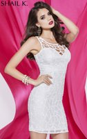 Wholesale 2015 Shail K New Collection White Scoop Sequined Short Party Dresses With Zipper Sleeveless Mini Homecoming Cocktail Prom Gowns