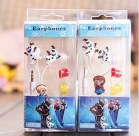 Wholesale 2014 new arrive Frozen Princess Snow Treasure Series MM universal Earphones cartoon earbud headphones