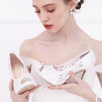 Wholesale Fashion Wedding Shoes Bridal Pumps White Peep Toe Cut outs Lace Rhinestones Platform cm Stiletto Heel Evening Party Shoes